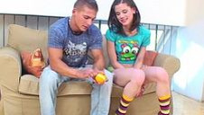 Playful damsel seduced by her stepbrother